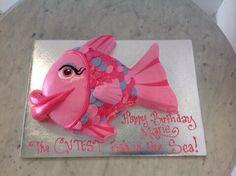 Pink fish shaped cake