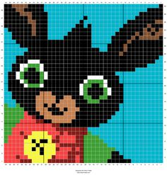 Cbeebies bing bunny graphgan crochet chart cal non commercial use only pattern graph blanket Pixel Crochet, C2c Crochet, Crochet Chart, Crochet Patterns, Bing Bunny, Boys 1st Birthday Cake, Cross Stitch Pictures, Christmas Cross, Wren