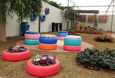 recycled tires garden ideas flower bed wall decor