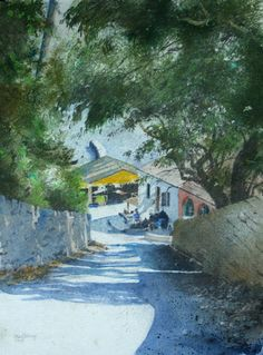 Lane to Kerasia Taverna, Open Edition Print (Giclee) from an original watercolour painting by Rob Piercy