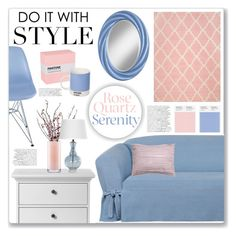 """""""Rose Quartz & Serenity"""" by mmmartha ❤ liked on Polyvore featuring interior, interiors, interior design, home, home decor, interior decorating, Sure Fit, Tvilum, Kate Spade and LSA International"""