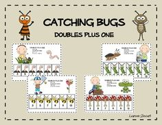 Enjoy this free Catching Bugs Doubles Plus One math work station!