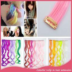 Synthetische Clip In Haarverlenging 50 cm Krullend Lange Gemengde Kleur 3 Stk/partij Regenboog Haarstukjes Voor Modieuze Vrouwen