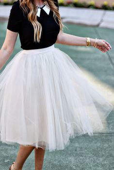 White Tulle Skirt and black top with white peter pan collar