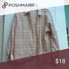 Pink Flannel Light weight and perfect over a cute shirt or buttoned up Tops Tees - Long Sleeve