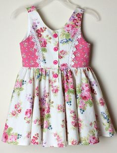 Items similar to Girls Floral Dress ~ size 3 ~ pink/white roses, toddler dress, party dress, cotton dress on Etsy Floral Dress for Girls size 3 pink/white roses Frocks For Girls, Little Dresses, Little Girl Dresses, Girls Dresses, Baby Girl Dress Design, Baby Girl Dress Patterns, Baby Frocks Designs, Kids Frocks Design, Kids Dress Wear