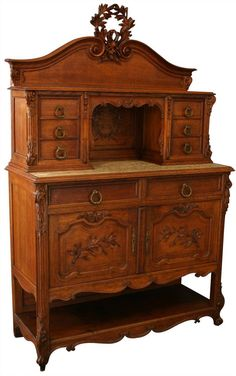 EuroLux Home - Beautiful 1900 Antique French Server Sideboard just arrived from France. Louis XV Rococo carved oak, marble top. (http://www.euroluxhome.com/products/1900-antique-french-server-sideboard-louis-xv-rococo-carved-oak-marble-top.html)
