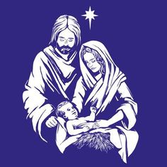 Illustration of Christmas story. Mary, Joseph and the baby Jesus, Son of God , symbol of Christianity hand drawn vector illustration vector art, clipart and stock vectors. Christmas Jesus, Christmas Nativity Scene, A Christmas Story, Jesus Son Of God, Baby Jesus, Baumgarten, Christian Symbols, Jesus Painting, Religious Images