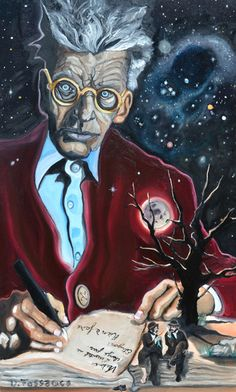 Oil painting I did of Samuel Beckett the author of the absurdist play, Waiting for Godot. He writes in his journalin french, translated, the essential stays the same... Nothing to be done. Imagining the stage set. Vladimir and estragon, sit  sharing the moment. The night sky displays the constellation Aries, Beckett himself was born under that sign
