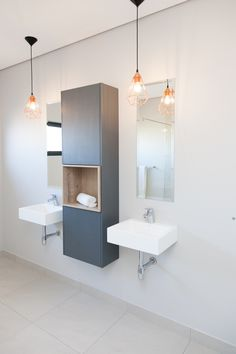 1058 on Schapejacht - Crontech Consulting Modern Bathrooms Interior, Bathroom Interior Design, Cupboard Storage, Storage Shelves, Copper Pendant Lights, Mirror Tiles, Floating Wall, Country Estate, Hanging Lights