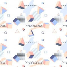 Moderm With Geometric Figures Background Memphis Design, 90s Pattern, Pattern Design, Vaporwave, Geometric Shapes Art, Overlays, Memphis Pattern, Graphic Wallpaper, Shape Art