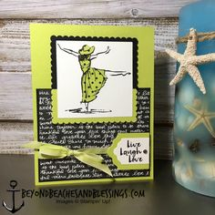 Stampin Up, CAS, All Occasion Card, Beautiful You Stamp Set, Designer Series Paper Stack, Lemon Lime Twist Cardstock and Ombre Ribbon, designed by Demo Lynn Tague, See more cards and gifts ideas at BeyondBeachesandBlessings.com #BeyondBeachesandBlessings