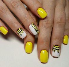Ideas for nails yellow nailart art designs - Summer Nail Ideen Yellow Nails Design, Yellow Nail Polish, Yellow Nail Art, Nail Polish Colors, Color Nails, Yellow Nail Syndrome, Hot Nail Designs, Hot Nails, Halloween Nail Art