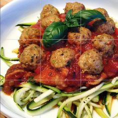 Turkey Meatballs with Mushroom/Pepper Tomato Sauce over Zucchini Noodles by fabulouslyannie on Instagram.  ((No specific directions, but looks soo good and easy to make I had to pin it for future meals!  S.))
