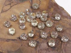 6mm Czech Clear Glass Gems VINTAGE Gems Twenty Five (25) 6mm Gold Foiled Pointed Back Jewelry Supplies CLEAR Round Gems Faceted Glass (F159) by punksrus on Etsy