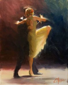 Christopher Clark, fine art, romance, Blue-Tango- original dance oil painting
