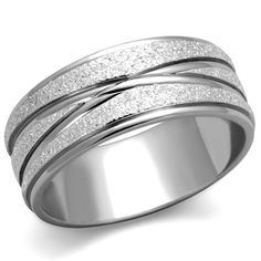 Stainless Steel 316L Glitter 8mm Wide Anniversary Wedding Band Ring Size 8. FREE GIFT BOX WITH EVERY PURCHASE: You will receive a gold gift box for each ring you purchase. 30 DAY MONEY BACK GUARANTEE: If for any reason you are not satisfied, or even if you are satisfied and simply want your money back, simply return the product within 30 days for a full refund. BUY ANY 3 ITEMS FROM OUR STORE AND GET THE 4TH ITEM FOR FREE!: Simply add any 4 items from our store...