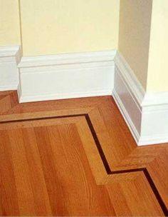 Decorative Wood Flooring Border Design Idea With Dark Inlay