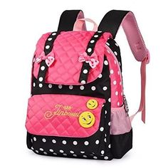 ecf0930ef31e Girl School Backpack Bookbag Bag Children Backpacks for Teen Girls Black  Pink