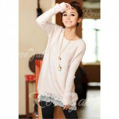 Ladylike Style Sweet Scoop Collar Loose Fit Lace Hem Long Sleeve Women's Knitted Sweater