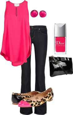 Too cute not to pin! Hot pink sleeveless top, dark blue skinny jeans, leopard flats, and beautiful accesories!