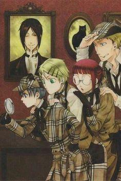Ciel, Finny, Mey-rin, Bardory, and Sebastian in the painting.