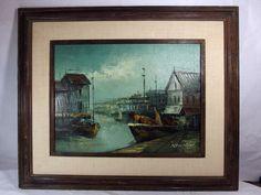http://stores.ebay.com/mariasantiqueandvintage M. Bradley Painting Oil Canvas New England Harbor Scene Sailboats Seascape MCM