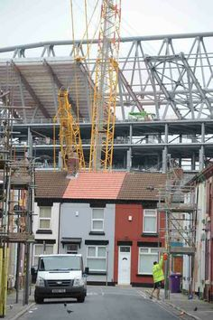 Building work at Anfield, Liverpool in 2016.