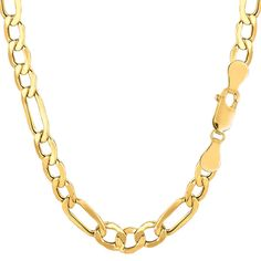 14K Yellow Gold Hollow Figaro Chain Bracelet - Width 6.5mm -  Length 8.5 Inch - JewelryAffairs  - 1