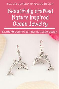 Diamond Dolphin Earrings - Dolphin Jewelry - Ocean Jewelry - Nature Inspired Jewelry - #dolphins #dolphinjewelry #dolphinEarrings #goldDolphinEarrings #diamondOceanEarrings #seaLifeEarrings #seaLifeJewelry #oceanJewelry #natureInspiredJewelry #beachMemories #beachEarrings #oceanLifeJewelry #14kDiamondDolphinEarrings #IlovetheoceanJewelry #diamondDolphinEarrings Ocean Jewelry, Dolphin Jewelry, Nautical Jewelry, Beach Jewelry, Diamond Jewelry, Handmade Jewelry, Earrings, Gold, Diamond Jewellery