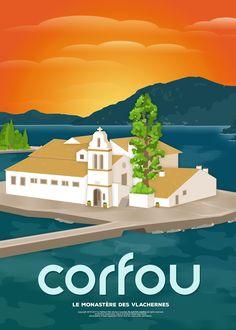 Corfu, Vlacherna Monastery (GR) Art Print by Nikolaos I. Kavadias - X-Small Tourism Poster, Poster Ads, Travel Collage, Vintage Travel Posters, Grafik Design, Greece Travel, Pictures Images, Europe, Illustrations Posters