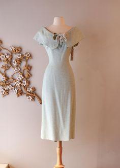 Vintage 1950s Lilli Ann Dress ~ Vintage 50s Lilli Ann Aqua Wiggle Dress Waist 30 by xtabayvintage on Etsy