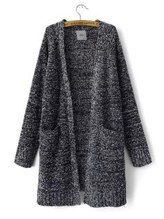 Long Sleeve Double Pocket Knit Sweater Cardigan