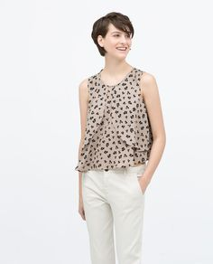 Image 1 of ROUND NECK LAYERED PRINTED TOP from Zara