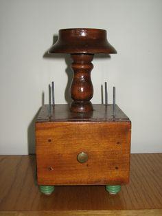 Vintage Wooden Thread Spool Holder Sewing Caddy w/ Drawer | eBay