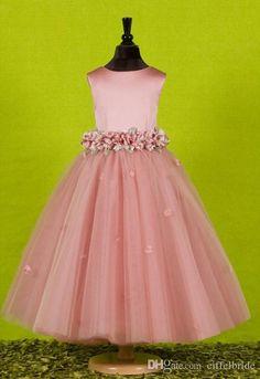 Por encargo hermosos vestidos de niñas de flores de color rosa para las bodas 2016 bastante formal vestidos de las niñas satén lindo vestido de disfraces tulle vestido de primavera