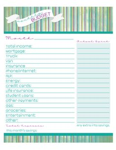 Free Monthly Budget Printable!