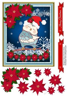Christmas Owl 8 Card Front on Craftsuprint designed by Maria C.Vieira - Blue Owls Christmas Sheet,Poinsettias layered decoupage and 2 red banners. Christmas Decoupage, Christmas Owls, Quick Cards, Poinsettia, Greeting Cards Handmade, Pet Birds, Make It Simple, Projects To Try, Card Making