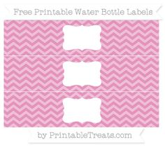 Free Pastel Bubblegum Pink Chevron Water Bottle Labels