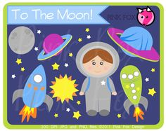 INSTANT DOWNLOAD - space clip art - rocket ship clipart - commercial use - astronaut graphic - commercial use - sale.