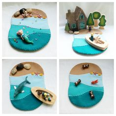 Ombre Ocean Playscape Play Mat wool felt storytelling storybook fairytale - Dollhouse seaside boat starfish beach mermaid toy by MyBigWorld2015 on Etsy