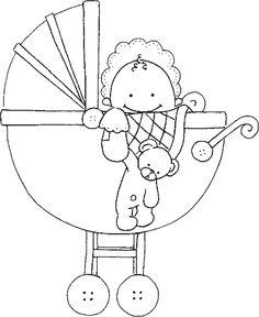 Embroidery Pattern of Baby Carriage Desenhos fofos para pintar ou bordar. jwt
