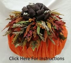 Just in time for Fall! An easy to make Burlap Mesh Pumpkin Wreath you can customize with your own unique design options! Click for complete instructions and a supply list! #Fall #DecoMeshWreath
