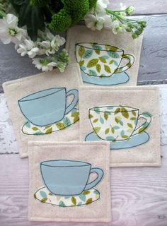 A Set of 4 Fabric Coasters - Decorative Coasters - Applique Gift - Tea Cup Coasters - Drinks Mats - Blue & Green Leaf Print Fabric by TheCornishCoasterCo on Etsy