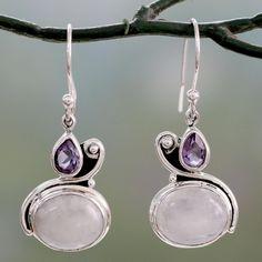 Novica Amethyst dangle earrings, Temple Gleam