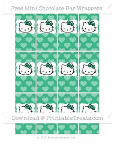 Free Mint Green Heart Pattern Hello Kitty Mini Chocolate Bar Wrappers