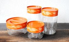 Pyrex Glass Jar Canisters Autumn Harvest by vintageeclecticity, $58.00. I want these so bad! Maybe for my birthday.