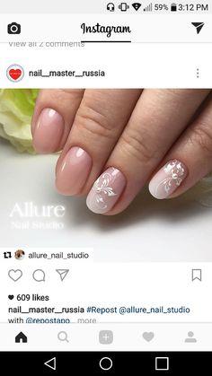 Bridal Nail Art, Nail Studio, Beautiful Nail Designs, Beauty Nails, Flower Designs, Nailart, Flower Line Drawings, Wedding Nail