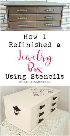 How I Refinished a Jewelry Box Using Stencils - Stenciled Projects Archives – Page 4 of 4 – Repurposing Junkie - Jewerly Box Diy, Jewelry Box Makeover, Garage Sale Finds, Diy Box, Planer, Repurposed, Stencils, Girls Jewelry, Jewelry Ideas
