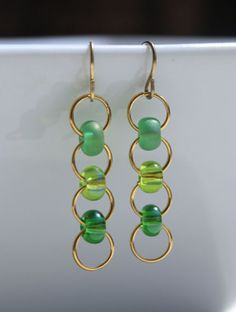 Green Ombre Gold Plated Jumpring Czech EBead by ThatGirlsDesigns, $6.00